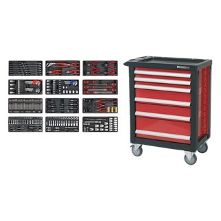 "AP2406TBTC01 6 Drawer Rollcab with Ball Bearing Slides with 298pc Tool Kit • Package includes:  • Model No. AP2406 • Rollcab 6 Drawer with Ball Bearing Slides • Overall Size (W x D x H): 765 x 465 x 960mm  • 298pc Tool Kit • Model No. - Description • TBT01 - Tool Tray with Combination Spanner Set 13pc Metric • TBT02 - Tool Tray with Pliers Set 4pc • TBT03 - Tool Tray with Circlip Pliers Set 4pc • TBT07 - Tool Tray with Hex/Ball-End Hex Keys & Socket Bit Set 29pc • TBT08 - Tool Tray with TRX-Star* Key, Socket Bit & Socket Set 35pc • TBT09 - Tool Tray with Engineer's File Set 5pc • TBT11 - Tool Tray with Security TRX-Star*/Hex/Ribe/Spline Bit Set 60pc • TBT14 - Tool Tray with Screwdriver Set 6pc • TBT17 - Tool Tray with Precision & Pick-Up Tool Set 38pc • TBT19 - Tool Tray with Socket Set 43pc 1/4""Sq Drive • TBT20 - Tool Tray with Socket Set 35pc 3/8""Sq Drive • TBT21 - Tool Tray with Socket Set 26pc 1/2""Sq Drive  • You may also refer to the individual Model No. for full specification. Product Image"