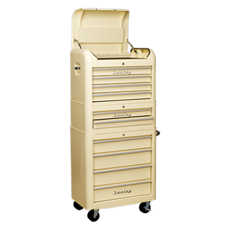 AP28COMBO2 Retro Style Topchest, Mid-Box & Rollcab Combination 10 Drawer Cream • Retro style topchest, mid-box and rollcab with modern day functionality.  • Package includes:  • Model No. - Description • AP28104 - 4 Drawer Retro Style Topchest - Cream • AP28102 - 2 Drawer Retro Style Mid-Box - Cream • AP28204 - 4 Drawer Retro Style Rollcab- Cream  • You may also refer to the individual Model No. for full specification. Product Image
