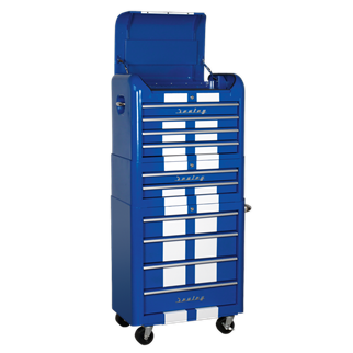 AP28COMBO2BWS Retro Style Topchest, Mid-Box & Rollcab Combination 10 Drawer Blue/White Stripes • Retro style topchest, mid-box and rollcab with modern day functionality.  • Package includes:  • Model No. - Description • AP28104BWS - 4 Drawer Retro Style Topchest - Blue with White Stripe • AP28102BWS - 2 Drawer Retro Style Mid-Box - Blue with White Stripe • AP28204BWS - 4 Drawer Retro Style Rollcab - Blue with White Stripe  • You may also refer to the individual Model No. for full specification. Product Image