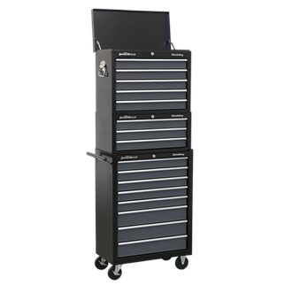 AP35STACK Tool Chest Combination 16 Drawer with Ball Bearing Slides - Black/Grey • Package includes:   • Model No. AP3505TB • Topchest 5 Drawer with Ball Bearing Slides - Black/Grey • Overall Size (W x D x H): 600 x 305 x 470mm  • Model No. AP3503TB • Mid-Box 3 Drawer with Ball Bearing Slides - Black/Grey • Overall Size (W x D x H): 605 x 310 x 275mm  • Model No. AP3508TB • Rollcab 8 Drawer with Ball Bearing Slides - Black/Grey • Overall Size (W x D x H): 615 x 330 x 885mm  • You may also refer to the individual Model No. for full specification. Product Image