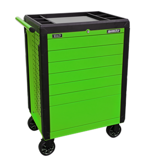 APPD7G Rollcab 7 Drawer Push-To-Open Hi-Vis Green • Constructed from heavy gauged steel with steel inner walls for extra strength and durability. • Heavy-duty 45mm ball bearing drawer slides provide superior performance and carry heavier loads.  • Fitted with Ø125mm castors with black chrome hubcaps, two swivel locking castors and two fixed. • New and innovative 'Push-To-Open' drawer system for easy opening, even when your hands are full. • Rollcab design features perforated side panels for hanging tools and accessories. • Rust and solvent resistant powder coat paint finish.  • All drawers supplied with 2mm EVA drawer liner.  • Top and corners coated with plastic to avoid damage when moving around the workshop or garage. • Plastic top fitted with stainless steel insert.  • Fitted with cylinder locks and supplied with two keys. Product Image