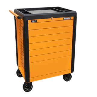APPD7O Rollcab 7 Drawer Push-To-Open Hi-Vis Orange • Constructed from heavy gauged steel with steel inner walls for extra strength and durability. • Heavy-duty 45mm ball bearing drawer slides provide superior performance and carry heavier loads.  • Fitted with Ø125mm castors with black chrome hubcaps, two swivel locking castors and two fixed. • New and innovative 'Push-To-Open' drawer system for easy opening, even when your hands are full. • Rollcab design features perforated side panels for hanging tools and accessories. • Rust and solvent resistant powder coat paint finish.  • All drawers supplied with 2mm EVA drawer liner.  • Top and corners coated with plastic to avoid damage when moving around the workshop or garage.  • One drawer safety system to prevent accidental tipping of the rollcab.  • Plastic top fitted with stainless steel insert.  • Fitted with cylinder locks and supplied with two keys. Product Image