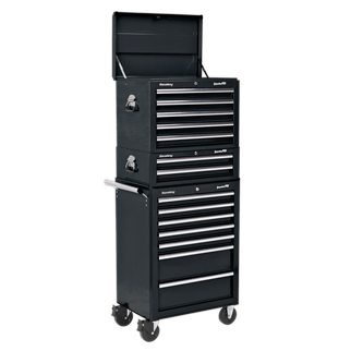 APSTACKTB Topchest, Mid-Box & Rollcab Combination 14 Drawer with Ball Bearing Slides - Black • Package includes:  • Model No. AP26059TB • 5 Drawer Topchest with Ball Bearing Slides - Black • Overall Size (W x D x H): 660 x 435 x 490mm.  • Model No. AP26029TB • 2 Drawer Mid-Box with Ball Bearing Slides - Black • Overall Size (W x D x H): 670 x 440 x 210mm.  • Model No. AP26479TB • 7 Drawer Rollcab with Ball Bearing Slides - Black • Overall Size (W x D x H): 685 x 465 x 1005mm.  • You may also refer to the individual Model No. for full specification. Product Image
