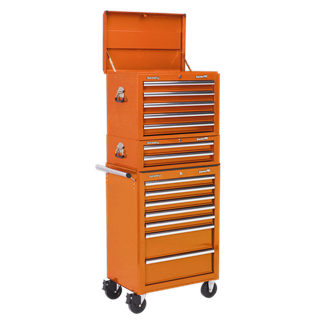APSTACKTO Topchest, Mid-Box & Rollcab Combination 14 Drawer with Ball Bearing Slides - Orange • Package includes:  • Model No. AP26059TO • Topchest 5 Drawer with Ball Bearing Slides - Orange • Overall Size (W x D x H): 660 x 435 x 490mm.  • Model No. AP26029TO • Mid-Box 2 Drawer with Ball Bearing Slides - Orange • Overall Size (W x D x H): 670 x 440 x 210mm.  • Model No. AP26479TO • Rollcab 7 Drawer with Ball Bearing Slides - Orange • Overall Size (W x D x H): 685 x 465 x 1005mm.  • You may also refer to the individual Model No. for full specification. Product Image