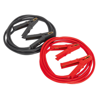 BC4050HD Heavy-Duty Booster Cables 40mm² x 5m CCA 600Amp • PVC Sheathed copper covered aluminium cable for minimum heating and maximum power transfer. • Resistant to grease, oil and most acids. • Heavy-duty clamps fitted with heavy insulating sleeves and strong clamp spring. • Suitable for cars, light commercial, commercial, PSV, marine and agricultural applications. • Supplied in tough storage case with operating guidelines. Product Image