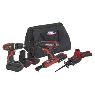 """CP1200COMBO3 CP1200 Series 4 x 12V Cordless Power Tool Combo Kit • Package includes:  • Model No. - Description • CP1201 - 12V Cordless Hammer Drill/Driver - Body Only • CP1202 - 12V 3/8""""Sq Drive Cordless Ratchet Wrench 45Nm - Body Only • CP1203 - 12V 1/4""""Hex Drive Cordless Impact Driver 80Nm - Body Only • CP1208 - 12V Cordless Reciprocating Saw - Body Only • CP1200BP - 12V 1.5Ah Lithium-ion Power Tool Battery for CP1200 Series • CP1200BP3 - 12V 3Ah Lithium-ion Power Tool Battery for CP1200 Series • CP1200MC - 12V Lithium-ion Battery Charger for CP1200 Series • CP1200CB - Canvas Bag for CP1200 & CP6000 Series  • You may also refer to the individual Model No. for full specification. Product Image"""
