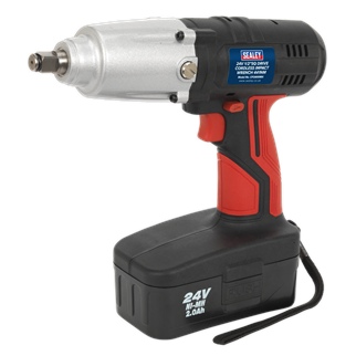 """CP2400MH Cordless Impact Wrench 24V 2Ah Ni-MH 1/2""""Sq Drive 441Nm • Powerful, compact, cordless impact wrench removes wheel nuts on the roadside with no compressor or mains source. • Produces torque in excess of 441Nm(325lb.ft). • Forward and reverse control integrated into housing for ease of use. • Superbly balanced tool with side handle and vibration reducing grip. • Suitable for workshop, bodyshop and tyre shop applications, without hazardous trailing cables. Product Image"""