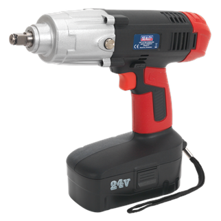 """CP2450MH Cordless Impact Wrench 24V 2Ah Ni-MH 1/2""""Sq Drive 410lb.ft • Removes wheel nuts on the roadside with no compressor or mains source required. • Produces up to 550Nm (410lb.ft) torque, makes this tool suitable for removing the most stubborn wheel nuts. • Variable speed switch for added control. • Forward and reverse switch integrated into housing for ease of use. • Superbly balanced tool with side handle and vibration reducing grip. • One of the most powerful cordless impact wrenches available on the market. • Suitable for workshop, bodyshop and tyre shop applications with no trailing cables causing hazards. • Supplied with 24V 2Ah Ni-MH battery pack and 80 minute mains charger. Product Image"""