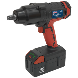 """CP2612 Cordless Impact Wrench 26V Lithium-ion 1/2""""Sq Drive 680Nm • Powerful, compact and suitable for removing the most stubborn wheel nuts in the workshop or on roadside with no compressor or mains source required.  • Featuring a variable speed switch for added control. • Produces torque of up to 680Nm(500lb.ft). • No trailing cables to cause hazards. • Forward and reverse control integrated into housing for ease of use. • Suitable for workshop, bodyshop and tyre shop applications. • Powered by a 26V 4Ah Lithium battery which retains its charge over long periods of time, so always ready to use. • Supplied with 90 minute mains charger. Product Image"""