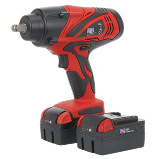 """CP3005 Cordless Impact Wrench 1/2""""Sq Drive 650Nm 18V 4Ah Lithium-ion - 2 Batteries • Powerful, compact and suitable for removing the most stubborn wheel nuts in the workshop or on roadside with no compressor or mains source required.  • Produces in excess of 650Nm(480lb.ft) torque, making this tool one of the most powerful available on the market. • Powered by high quality Sanyo® Lithium battery cells, retaining charge longer than many other battery cells on the market. • Features battery condition indicator, integral LED work light and variable speed control switch for added control. • Forward and reverse control integrated into the housing for ease of use. • Suitable for workshop, bodyshop, and tyre shop applications, without hazardous trailing cables. • Supplied with two 18V Lithium-ion battery packs, and 90 minute mains charger. Product Image"""