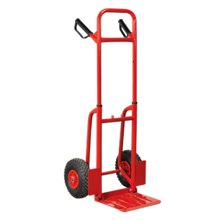 CST801 Sack Truck with Pneumatic Tyres 200kg Folding • Extra-strong tubular steel framework with heavy-duty pneumatic tyres allow transport of load over rough terrain. • Features foldaway toe plate and height adjustable handles. • Fitted with composite grip handles for added comfort and stability. Product Image