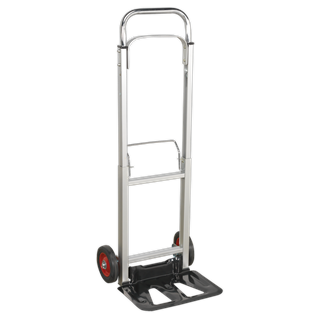 CST980 Sack Truck Folding Aluminium 90kg Capacity • Lightweight aluminium frame, weighs only 7kg yet has a carrying capacity of 90kg.