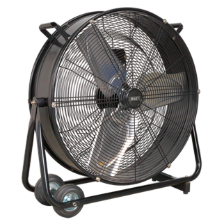 """HVD24 Industrial High Velocity Drum Fan 24"""" 230V • High velocity industrial two-speed drum fan suitable for movement of huge volumes of air. • Robust unit with heavy-duty gauge steel casing, guard and frame. • Handle, wheels and tilt function cradle stand allow control of airflow where it is needed. • Carefully balanced and fully guarded blades provide quiet and safe operation. • Fitted with 3-pin plug. • Suitable for use in industrial, commercial, agricultural, automotive workshop and showroom applications. Product Image"""