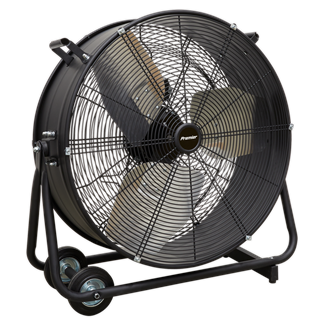 """HVD24P Industrial High Velocity Drum Fan 24"""" 230V - Premier • High efficiency industrial fans with improved motor and blade design resulting in higher velocity with up to 30% more area coverage and reach. • Robust unit with heavy-duty gauge steel casing, guard and frame.  • Handle, wheels and tilt function cradle stand, allow the control of airflow where it is needed. • Carefully balanced and fully guarded blades provide safe operation. • Suitable for use in industrial, commercial, agricultural, automotive and showroom applications. • Fitted with 3-pin plug. Product Image"""