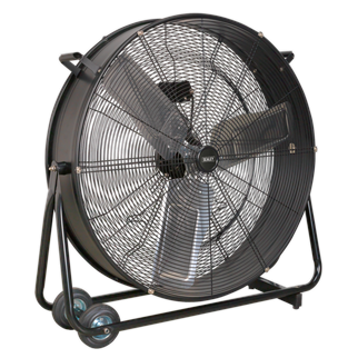 """HVD30 Industrial High Velocity Drum Fan 30"""" 230V • High velocity industrial two-speed drum fan suitable for movement of huge volumes of air. • Robust unit with heavy-duty gauge steel casing, guard and frame. • Handle, wheels and tilt function cradle stand allow control of airflow where it is needed. • Carefully balanced and fully guarded blades provide quiet and safe operation. • Fitted with 3-pin plug. • Suitable for use in industrial, commercial, agricultural, automotive workshop and showroom applications. Product Image"""