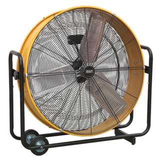 """HVD30110V Industrial High Velocity Drum Fan 30"""" 110V • High velocity industrial two-speed drum fan suitable for movement of huge volumes of air. • Robust unit with heavy-duty gauge steel casing, guard and frame. • Handle, wheels and tilt function cradle stand allow control of airflow where it is needed. • Carefully balanced and fully guarded blades provide quiet and safe operation. • Fitted with 16A 110V plug. • Suitable for use in industrial, commercial, agricultural, automotive workshop and on site applications. Product Image"""