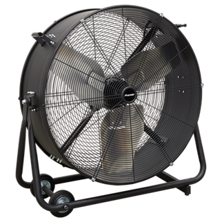 """HVD30P Industrial High Velocity Drum Fan 30"""" 230V - Premier • High efficiency industrial fans with improved motor and blade design resulting in higher velocity with up to 30% more area coverage and reach. • Robust unit with heavy-duty gauge steel casing, guard and frame.  • Handle, wheels and tilt function cradle stand, allow the control of airflow where it is needed. • Carefully balanced and fully guarded blades provide safe operation. • Suitable for use in industrial, commercial, agricultural, automotive and showroom applications. • Fitted with 3-pin plug. Product Image"""