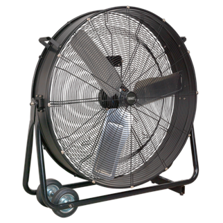 """HVD36 Industrial High Velocity Drum Fan 36"""" 230V • High velocity industrial two-speed drum fan suitable for movement of huge volumes of air. • Robust unit with heavy-duty gauge steel casing, guard and frame. • Handle, wheels and tilt function cradle stand allow control of airflow where it is needed. • Carefully balanced and fully guarded blades provide quiet and safe operation. • Fitted with 3-pin plug. • Suitable for use in industrial, commercial, agricultural, automotive workshop and showroom applications. Product Image"""