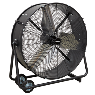 """HVD36P Industrial High Velocity Drum Fan 36"""" 230V - Premier • High efficiency industrial fans with improved motor and blade design resulting in higher velocity with up to 30% more area coverage and reach. • Robust unit with heavy-duty gauge steel casing, guard and frame.  • Handle, wheels and tilt function cradle stand, allow the control of airflow where it is needed. • Carefully balanced and fully guarded blades provide safe operation. • Suitable for use in industrial, commercial, agricultural, automotive and showroom applications. • Fitted with 3-pin plug. Product Image"""