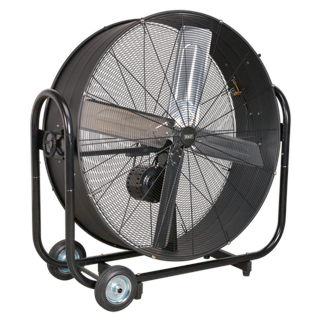 """HVD42B Industrial High Velocity Drum Fan 42"""" Belt Drive 230V • High velocity industrial two-speed drum fan suitable for movement of huge volumes of air. • Professional belt driven fan ensures a smooth and quiet performance. • Robust unit with heavy-duty gauge steel casing, guard and frame. • Handle, wheels and tilt function cradle stand allow control of airflow where it is needed. • Carefully balanced and fully guarded blades. • Fitted with 3-pin plug. • Suitable for use in industrial, commercial, agricultural, automotive workshop and showroom applications. Product Image"""