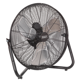 """HVF18 Industrial High Velocity Floor Fan 18"""" 230V • High velocity fan suitable for movement of huge volumes of air. • Carefully balanced and fully guarded blades provide quiet and safe operation. • Three-speed power selection and cradle stand allow precise control of airflow to exactly where it is needed. • Fitted with 3-pin plug. • Suitable for use in industrial, commercial, agricultural, automotive workshop and showroom applications. Product Image"""