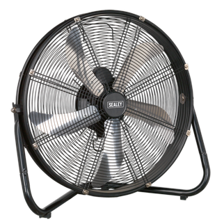 """HVF20 Industrial High Velocity Floor Fan 20"""" 230V • High velocity fan suitable for movement of huge volumes of air. • Features three speed settings for choice of airflow and tilting blade cradle. • Fully guarded blades with large diameter base for safety and added stability. • Mains cable storage keeps it tidy when not in use.  • Suitable for industrial, commercial, agricultural, workshop and showroom applications. Product Image"""