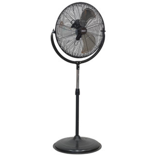 """HVF20P Industrial High Velocity Pedestal Fan 20"""" 230V • High velocity fan suitable for movement of huge volumes of air. • Features three speed settings for choice of airflow, tilting blade cradle through 135° angle and height adjustable stand. • Fully guarded blades with large diameter base for safety and added stability. • Mains cable storage keeps it tidy when not in use. • Suitable for industrial, commercial, agricultural, workshop and showroom applications. Product Image"""