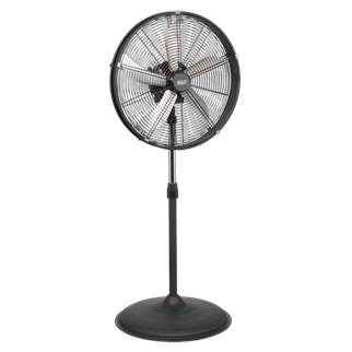 """HVF20PO Industrial High Velocity Oscillating Pedestal Fan 20"""" 230V • High velocity fan suitable for movement of huge volumes of air. • Features three speed settings for choice of airflow, height adjustable stand, tilting blade cradle and oscillation. • Fully guarded blades with large diameter base for safety and added stability. • Suitable for industrial, commercial, agricultural, workshop and showroom applications. Product Image"""