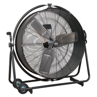 """HVF30S Industrial High Velocity Orbital Drum Fan 30"""" 230V • High velocity industrial 2-speed drum fan suitable for movement of huge volumes of air. • Robust unit with heavy-duty gauge steel casing, guard and frame. • Featuring a 360° tilt function allowing for the direction of airflow to be positioned anywhere on a 360° axis. • Carefully balanced and fully guarded blades provide quiet and safe operation. • Fitted with 3-pin plug. • Suitable for use in industrial, commercial, agricultural, automotive workshop and showroom applications. Product Image"""