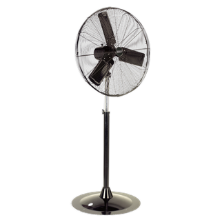 """HVSF30 Industrial High Velocity Oscillating Pedestal Fan 30"""" 230V • High velocity pedestal fan suitable for movement of huge volumes of air. • Carefully balanced and fully guarded blades provide quiet and safe operation. • Three-speed power selection, spring-assisted, height-adjustable stand and switchable head oscillation allow precise control of airflow to exactly where it is needed. • Fitted with 3-pin plug. • Suitable for use in industrial, commercial, agricultural, automotive workshop and showroom applications. Product Image"""