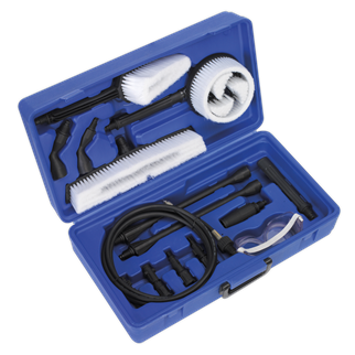 PCKIT Pressure Washer Accessory Kit • Includes a wide range of pressure washer accessories for multiple uses. • Supplied in a high-impact carry-case for easy storage and transportation. • Features adaptors to allow compatibility with other brands of pressure washers. Product Image