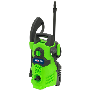 PW1500HV Pressure Washer 105bar with TSS 230V Hi-Vis Green • Lightweight and powerful entry level unit, designed for domestic and light trade use. • Ideal for a range of applications including cleaning vehicles, patios, decking, motorbikes and barbecues. • Fitted with a powerful 1400W motor with 300 litre water flow per hour and a maximum pressure output of 105bar. • Features Automatic Total Stop System (TSS) which switches the motor on and off when the trigger is operated, prolonging motor life. • Fitted with accessory storage and hose/cable hook to ensure unit stays clutter-free and mobile. • Supplied with 3m hose, spray gun, lance and detergent bottle. • Weighs just 4.66kg for ease of manoeuvrability. Product Image