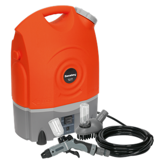 PW1712 Pressure Washer 12V Rechargeable • Lightweight, portable cordless pressure washer. • Suitable for a range of domestic applications including cleaning vehicles, motorcycles and bicycles. • Features 17ltr water tank which can be detached from base for easy refilling. • Unit can be powered using vehicle's 12V socket, but is also fitted with a rechargeable lead acid battery which provides up to 40 minutes of continuous use. • Ideal pressure washer where no mains electric supply is available, such as classic car shows and track days. • Supplied with 6m hose, variable nozzle, fixed brush and both fitted with built-in detergent bottles. • Fitted with accessory storage pouch, durable wheels and shoulder strap for easy transportation. Product Image