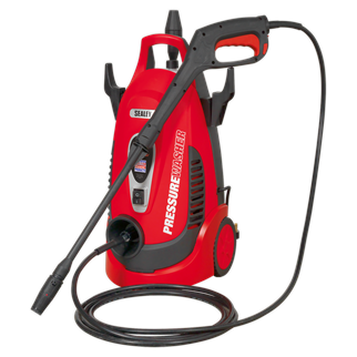 PW1750 Pressure Washer 120bar with TSS & Rotablast Nozzle 230V • Powerful unit designed for frequent domestic and light trade use. • Ideal for a range of applications including cleaning vehicles, patios, decking, motorbikes and barbecues. • Fitted with a powerful 1400W induction motor with 360 litre water flow per hour and a maximum pressure output of 120bar. • Features Automatic Total Stop System (TSS) which switches the motor on and off when the trigger is operated, prolonging motor life. • Fitted with two hose and cable hooks and accessory storage to ensure unit stays clutter-free and fully mobile. • Supplied with built-in detergent tank, 5m hose, variable nozzle and Rotablast® nozzle which helps develop the same effective cleaning power (ECP) as a 205bar/2975psi pressure washer. • Manufactured with durable wheels for transportation over rough terrain. • Supplied with power cable fitted with 13Amp plug. Product Image