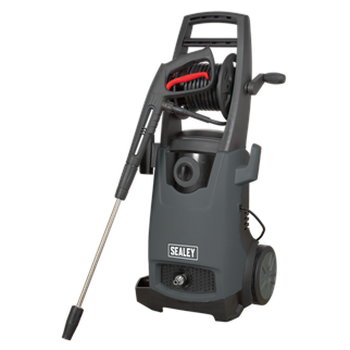 PW2500 Pressure Washer 170bar with TSS & Rotablast Nozzle 230V • Semi-professional, heavy-duty unit designed for extensive domestic and light commercial use. • Ideal for a range of applications including cleaning vehicles, commercial equipment, motorbikes, patios and decking. • Fitted with a powerful 2200W motor with a 438L/hr water flow rate and a maximum pressure of 170bar. • Features Automatic Total Stop System (TSS) which switches the motor on and off when the lance trigger is operated, prolonging the motor life. • Fitted with 5m hose reel, accessory storage on back of unit and side mounted gun and lance holder to ensure the unit stays clutter-free and fully mobile. • Features high quality polished chrome and brass fittings. • Supplied with 5m hose, variable nozzle and Rotablast® nozzle which helps develop the same Effective Cleaning Power (ECP) as a 275bar/3995psi pressure washer. • Manufactured with heavy-duty plastic wheels for transportation over rough terrain. • Supplied with power cable fitted with 13Amp plug. Product Image