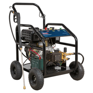 PWDM3600 Pressure Washer 290bar 900L/hr 10hp Diesel • Diesel powered pressure washer with electric and recoil starting. • Offers high pressure and high flow with diesel economy. • Ideal for commercial applications with 5m pressure hose, 1m gun and lance and five interchangeable nozzles. • Low-pressure liquid detergent injection system. • Safety latch on trigger, automatic low-oil engine shutdown and thermal pump relief valve reduce risk of misuse and equipment damage. • Pneumatic tyres. • Supplied with tools and gasket set. • N.B. Not supplied with oil. Product Image