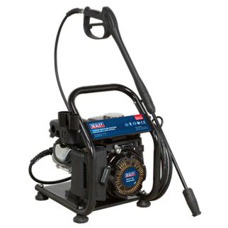 PWM1300 Pressure Washer 130bar 420ltr/hr 2.4hp Petrol • Petrol powered pressure washer with recoil starting. • Suitable for commercial and domestic applications with 5m pressure hose, gun, lance and adjustable nozzle. • Low-pressure liquid detergent injection system. • Safety latch on trigger and automatic low-oil engine shut down reduce risk of misuse and equipment damage. • Unit stands on four sucker feet to prevent movement, and has integral handle. • Supplied with tools and full instructions. • N.B. Not supplied with oil. Product Image