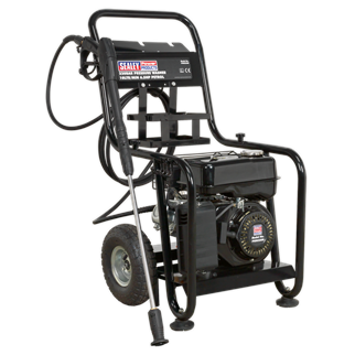 PWM2500 Pressure Washer 220bar 600ltr/hr 6.5hp Petrol • Petrol powered pressure washer with recoil starting. • Ideal for commercial applications with 5m pressure hose, 1m gun and lance and adjustable nozzle. • Low-pressure liquid detergent injection system with provision for detergent bottle stowage. • Safety latch on trigger and automatic low-oil engine shutdown reduce risk of misuse and equipment damage. • Unit stands on four legs, two with sucker feet to prevent movement, and tilts back onto two pneumatic tyres for moving. • Supplied with tools and full instructions. Product Image