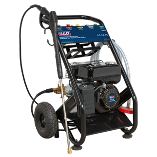 PWM2500SP Pressure Washer 220bar 600ltr/hr Self-Priming 6.5hp Petrol • Petrol powered pressure washer with recoil starting. • Features a professional level triplex plunger pump with brass head which boasts high efficiency, high pressure and a long life. • Ideal for commercial applications with 5m pressure hose, pick-up hose, 1m gun and lance and five interchangeable nozzles. • Self priming pump makes this unit fully portable for reservoir pick-up, so can be used where no mains pressure is available. • Can draw clean water from water butts and tanks. • Low-pressure liquid detergent injection system with provision for detergent bottle storage. • Safety latch on trigger and automatic low-oil engine shutdown reduce risk of misuse and equipment damage. • Unit stands on four legs, two with sucker feet to prevent movement, and tilts back onto two pneumatic tyres for moving. • Supplied with tools and full instructions. • N.B. Not supplied with oil. Product Image