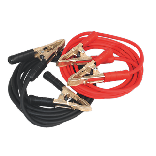 SBC/25/5/EHD Booster Cables Extra-Heavy-Duty Clamps 25mm² x 5m Copper 650Amp • PVC Sheathed copper welding cable for minimum heating and maximum power transfer. • Resistant to grease, oil and most acids. • Extra-heavy-duty brass clamps fitted with heavy insulating sleeves and strong clamp spring. • Suitable for cars, light commercial, commercial, PSV, marine and agricultural applications. • Patented clamps. • Made in Europe. Product Image