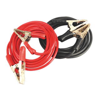 SBC50/6.5/EHD Booster Cables Extra-Heavy-Duty Clamps 50mm² x 6.5m Copper 900Amp • PVC Sheathed copper welding cable for minimum heating and maximum power transfer. • Resistant to grease, oil and most acids. • Extra-heavy-duty brass clamps fitted with heavy insulating sleeves and strong clamp spring. • Suitable for cars, light commercial, commercial, PSV, marine and agricultural applications. • Patented clamps. • Made in Europe. Product Image