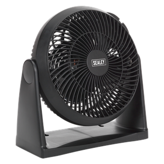 """SFF08 Desk/Floor Fan 3-Speed 8"""" 230V • Manufactured from durable composite material, ergonomically designed to pivot on a 180° axis, maximising the volume and direction of airflow. • Can also be wall mounted. • Featuring three-speed settings. • Fitted with 3-pin plug. Product Image"""