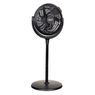 """SFF12DP Desk & Pedestal Fan 12"""" 230V • Versatile fan manufactured from durable composite material with three height stages and three speeds. • Adding or removing threaded extension sections converts the fan between a stand, low stand and desk fan with no need for tools. • Fan head pivots vertically through 180° to control the direction of airflow. • Fitted with 3-pin plug. Product Image"""