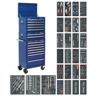 SPTCCOMBO1 Tool Chest Combination 14 Drawer with Ball Bearing Slides - Blue & 1179pc Tool Kit • Package includes:  • Model No. AP26059TC • 5 Drawer Topchest with Ball Bearing Slides - Blue • Overall Size (W x D x H): 660 x 435 x 490mm.  • Model No. AP26029TC • 2 Drawer Mid-Box with Ball Bearing Slides - Blue • Overall Size (W x D x H): 670 x 440 x 210mm.  • Model No. AP26479TC • 7 Drawer Rollcab with Ball Bearing Slides - Blue • Overall Size (W x D x H): 685 x 465 x 1005mm.  • 1179pc Tool Kit Includes Model No's: TBT01, TBT02, TBT03, TBT04, TBT05, TBT06, TBT07, TBT08, TBT09, TBT11, TBT12, TBT13, TBT14, TBT15, TBT16, TBT17, TBT18, TBT19, TBT23, TBT24, TBT26, TBT29, TBT30, TBT31, TBT32, TBTB (x2).  • Other products of equivalent value will be supplied in the event that the promotion items should cease to be available.  • You may also refer to the individual Model No. for full specification. Product Image