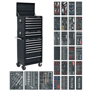 SPTCOMBO2 Tool Chest Combination 14 Drawer with Ball Bearing Slides - Black & 1179pc Tool Kit • Package includes:  • Model No. AP26059TB • 5 Drawer Topchest with Ball Bearing Slides - Black • Overall Size (W x D x H): 660 x 435 x 490mm.  • Model No. AP26029TB • 2 Drawer Mid-Box with Ball Bearing Slides - Black • Overall Size (W x D x H): 670 x 440 x 210mm.  • Model No. AP26479TB • 7 Drawer Rollcab with Ball Bearing Slides - Black • Overall Size (W x D x H): 685 x 465 x 1005mm.  • 1179pc Tool Kit • Includes Model No's: TBT01, TBT02, TBT03, TBT04, TBT05, TBT06, TBT07, TBT08, TBT09, TBT11, TBT12, TBT13, TBT14, TBT15, TBT16, TBT17, TBT18, TBT19, TBT23, TBT24, TBT26, TBT29, TBT30, TBT31, TBT32, TBTB (x2).  • Other products of equivalent value will be supplied in the event that the promotion items should cease to be available.  • You may also refer to the individual Model No. for full specification. Product Image