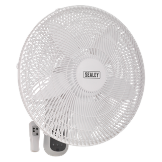 """SWF18WR Wall Fan 3-Speed 18"""" with Remote Control 230V • Features tilt and swivel head for optimum air circulation. • Remote control operation and fully guarded fan blades for ease of use and extra safety. • Smooth running motor powers both fan blades and head oscillation. • Timer function allows user to preset running time between 30 minutes - 7.5 hours. • Sleep mode for gradual reduction of fan speed. • Supplied with wall bracket for quick and easy installation. Product Image"""