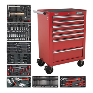 "TBTRCOMBO 7 Drawer Rollcab - Ball Bearing Slides - Red with 156pc Tool Kit • Package includes: 	 • AP26479T - 7 Drawer Rollcab with Ball Bearing Slides - Red • Overall Size (W x D x H): 685 x 465 x 1005mm  • 156pc Tool Kit • Model No. - Description • TBT30 - 6pc Prybar, Hammer & Hacksaw Set with Tool Tray • TBT31 - 55pc 3/8"" & 1/2""Sq Drive Socket Set with Tool Tray • TBT01 - 13pc Combination Spanner Set with Tool Tray • TBT14 - 6pc Screwdriver Set with Tool Tray • TBT04 - 4pc Locking Pliers & Adjustable Wrench Set with Tool Tray • TBT11 - 60pc Security TRX-Star/Hex/Ribe/Spline Bit Set with Tool Tray • TBT02 - 4pc Pliers Set with Tool Tray • TBT06 - 8pc T-Handle Ball-End Hex Key Set with Tool Tray  • You may also refer to the individual Model No. for full specification. Product Image"