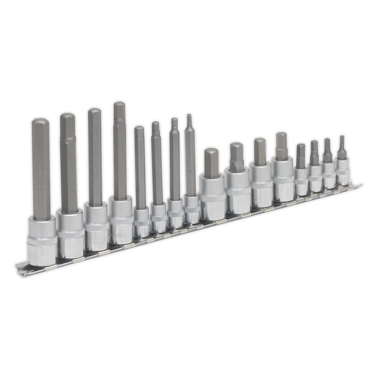 Stubby 3//8-inch and 1//2-inch Sq Drive Hex Socket Bit Set Silver Sealey AK6229 10 Piece 1//4-inch