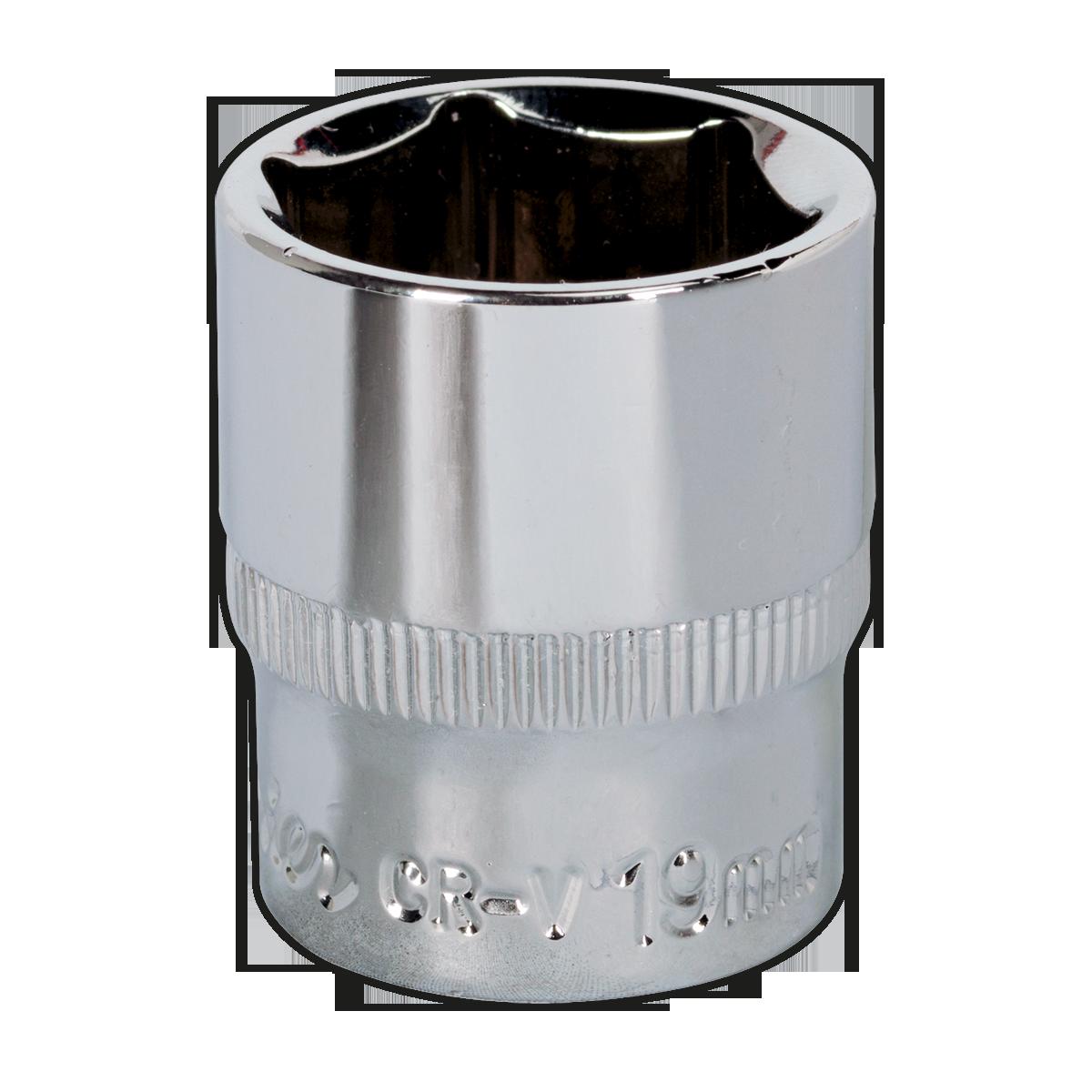 "Socket 19mm 3//8/""Sq Drive Fully Polished Sealey SP3819 WallDrive"